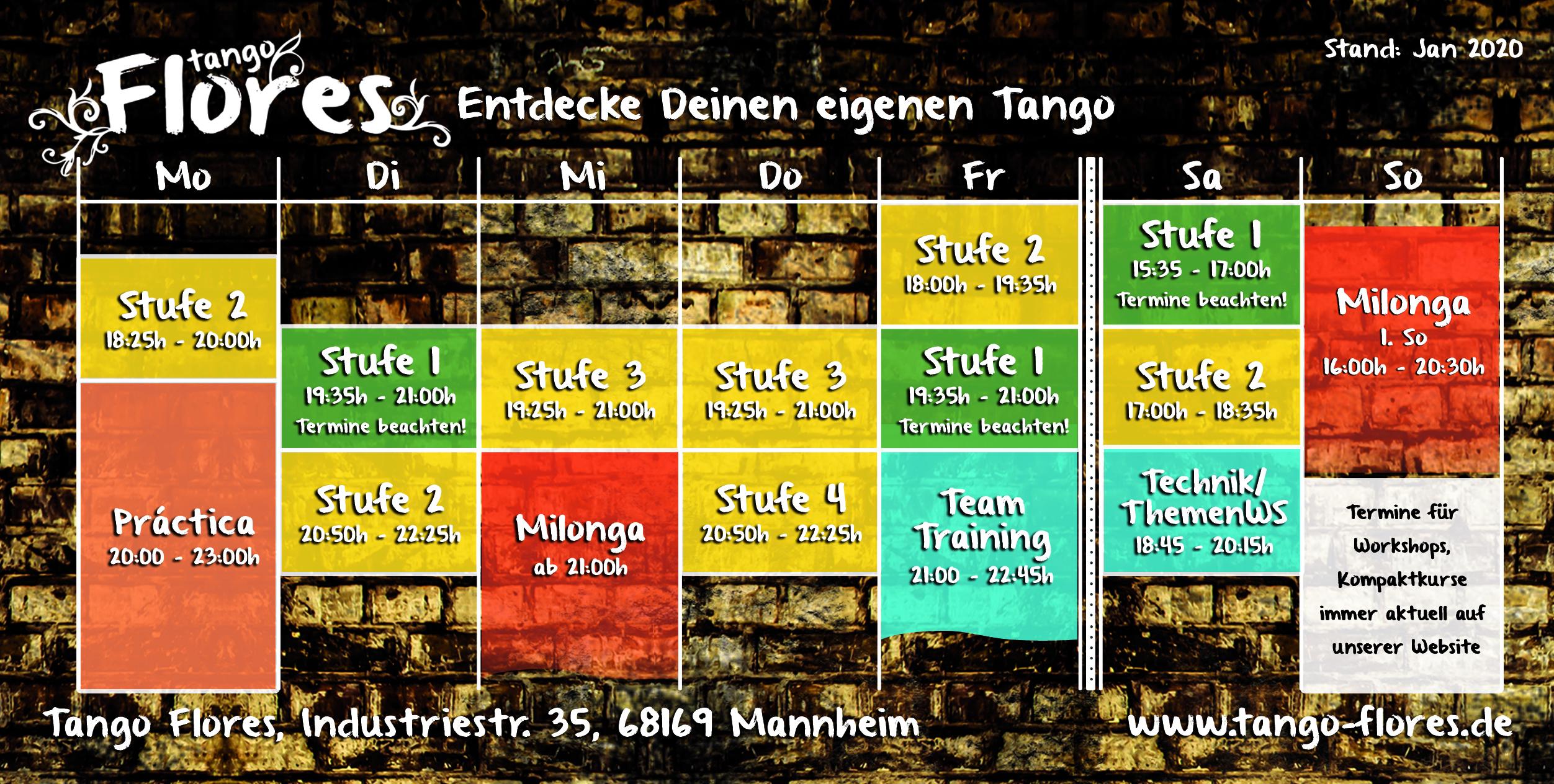 Tango Flores Programm ab Jan 2020